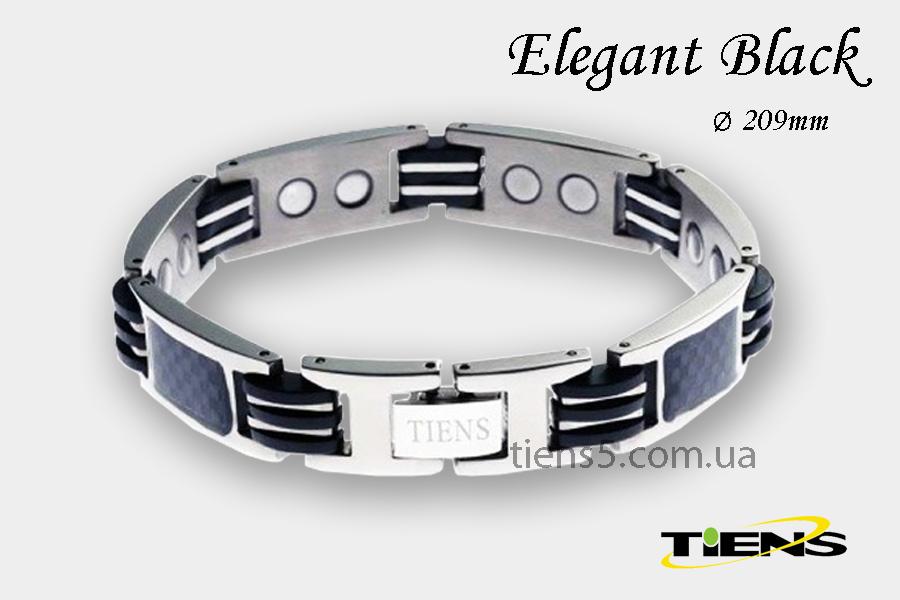 Элегантный серебристый титановый браслет Elegant Black (для мужчин) фото