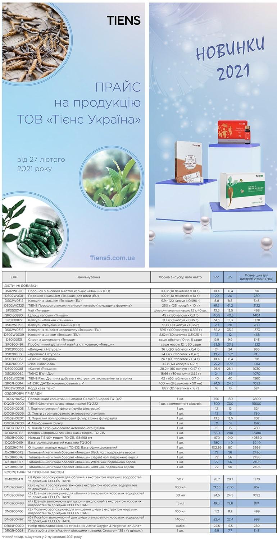Прайс-лист на продукцию Тяньши с 27.02.2021
